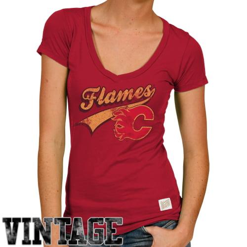 Original Retro Brand Calgary Flames Women's Deep V-Neck Slim Fit T-Shirt - Red