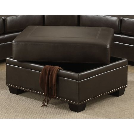 Image of AC Pacific Louis Traditional Brown Storage Ottoman