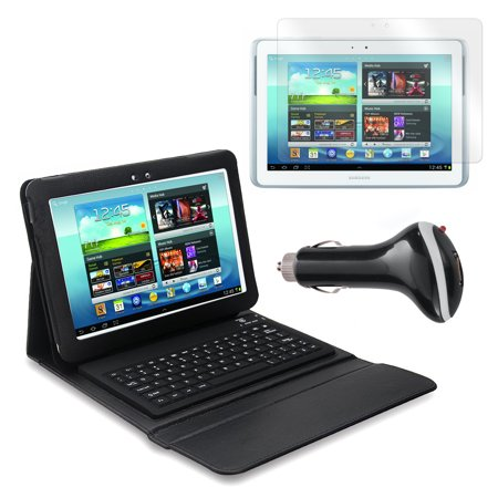 Keyboard Folio with Screen Protector and Car Adapter for Samsung Galaxy Note 10.1