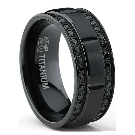 Black Titanium Segment Rings - 9MM Men's Black Titanium Wedding Band Ring with Double Row Black Cubic Zirconia, Comfort Fit