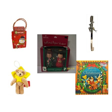- Christmas Fun Gift Bundle [5 Piece] - Musical Gift Card Holder Snowman - Silver Reindeer Over The Door Wreath Hanger  - Hallmark Seasons Greetings Salt and Pepper Shaker Set - Brown Bear Yellow Star