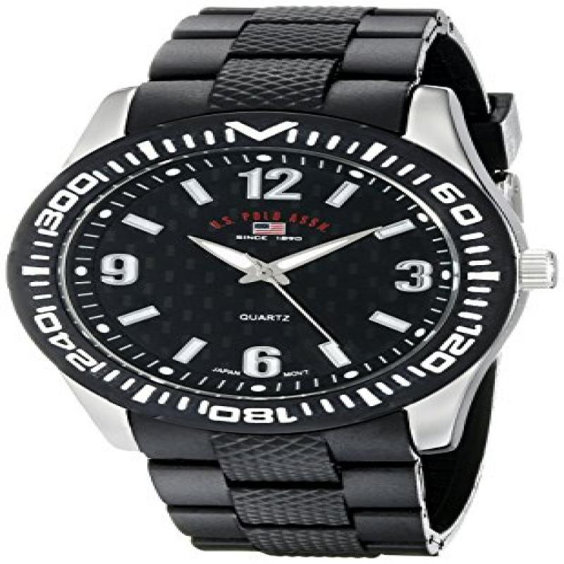 U.S. POLO ASSN Sport Men's US9077 Black Rubber Analog Watch