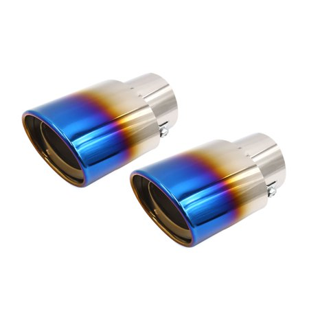 Metal Exhaust Grill - 2pcs Universal Grilled Blue Metal Car Rear Exhaust Muffler Tip Tail Throat Pipe