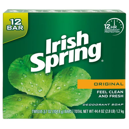 Man Cave Soap (Irish Spring Original, Deodorant Bar Soap, 3.7 Ounce, 12 Bar Pack)