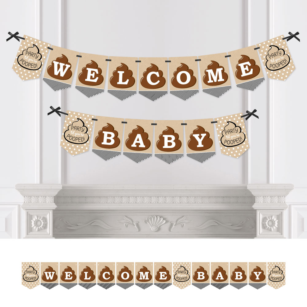Party 'Til You're Pooped - Poop Emoji Baby Shower Bunting Banner - Poop Party Decorations - Welcome Baby
