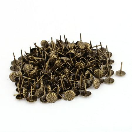 Nails Tacks (7/16-inch Dia Chrysanthemum Nail Pushpin Upholstery Tack Bronze Tone 200pcs)