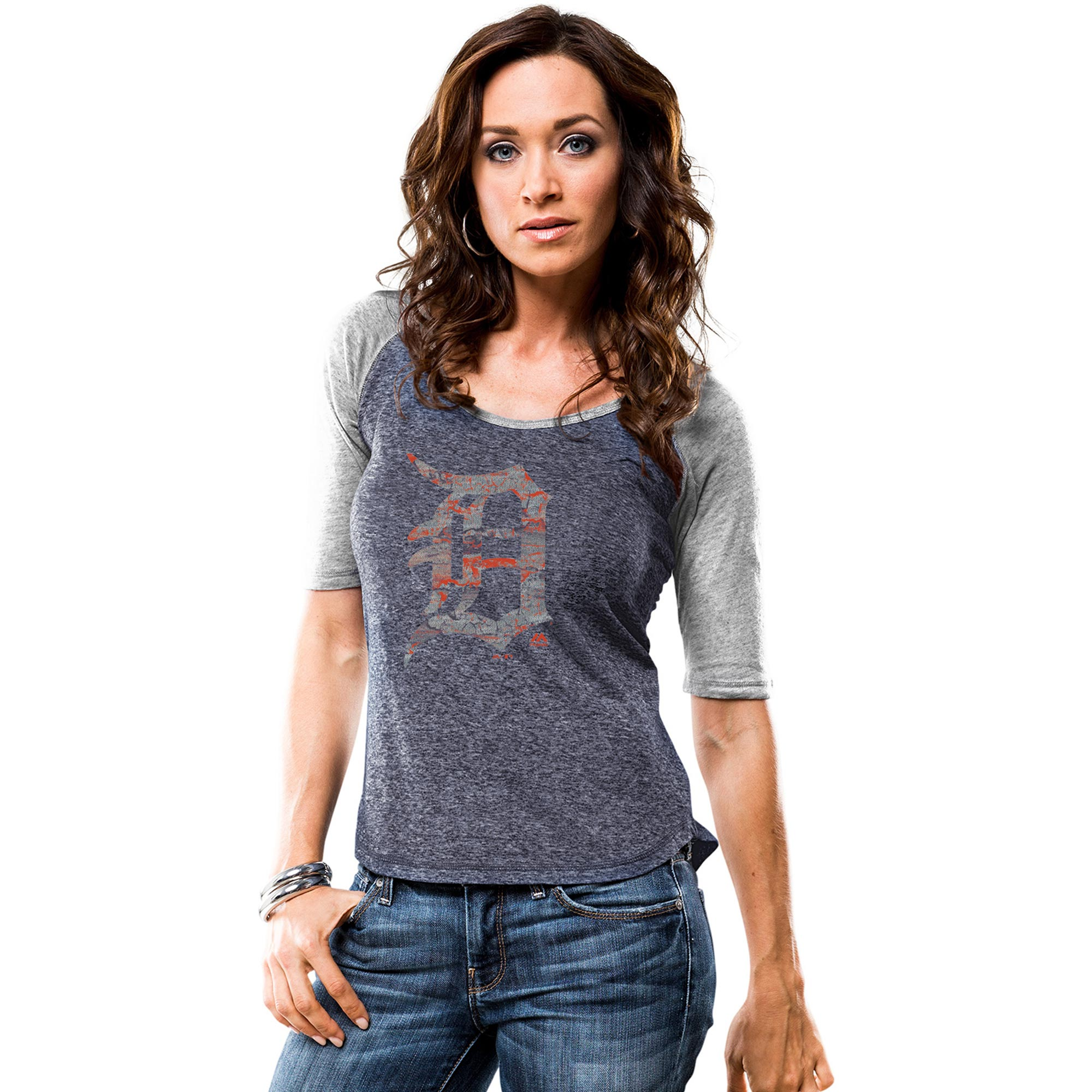 Detroit Tigers Majestic Women's Athletic Greatness Raglan Half Sleeve T-Shirt - Navy