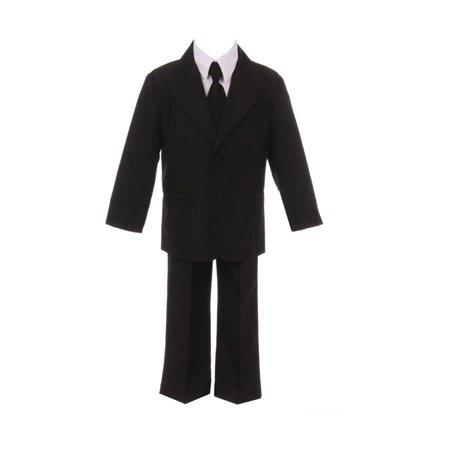 Boys Black Jacket Pants Shirt Vest 5 pcs Special Occasion Suit
