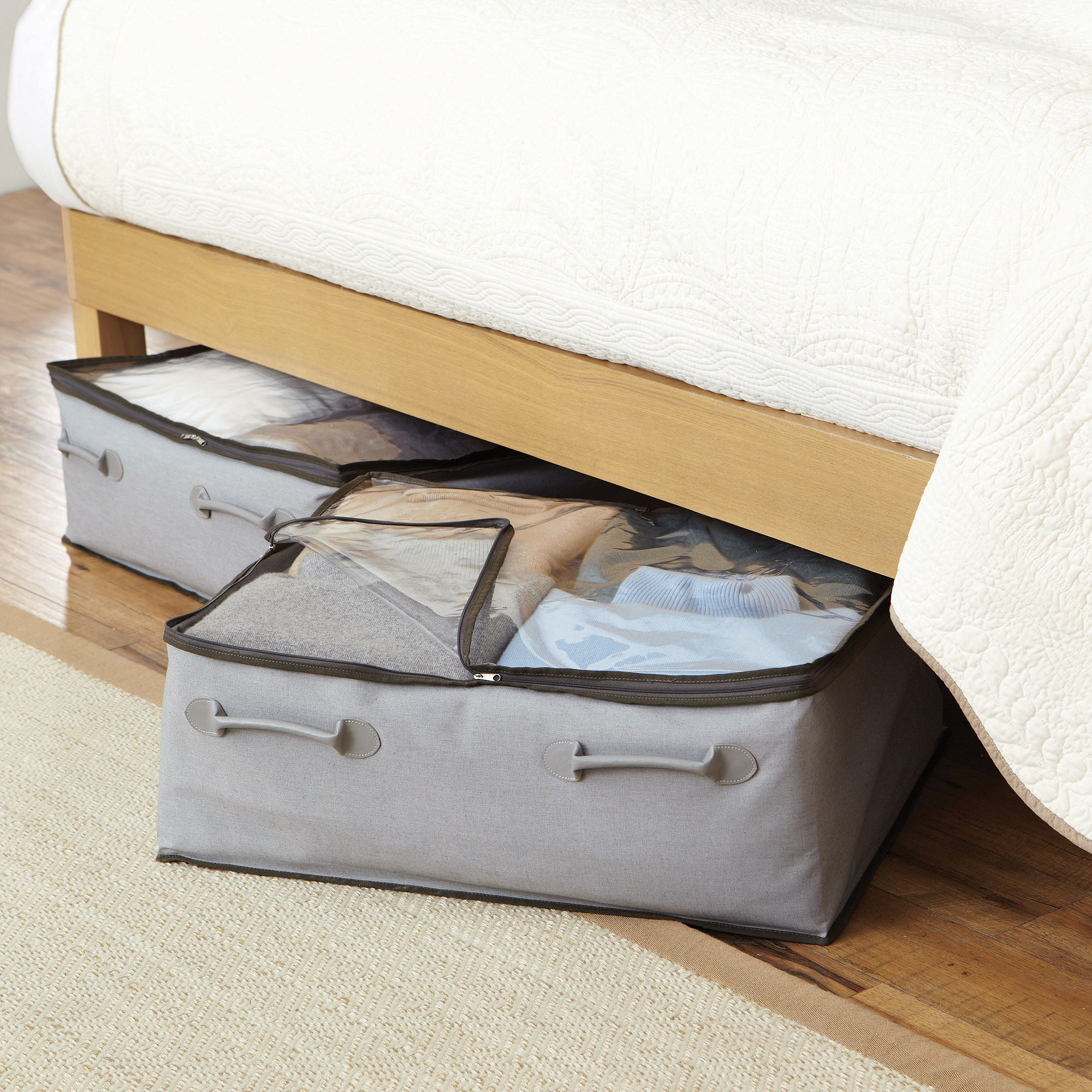 Better Homes and Gardens 2-Pocket Under-Bed Bag, Grey