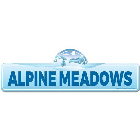 Alpine Meadows Street Sign | Indoor/Outdoor | Skiing, Skier, Snowboarder, Décor for Ski Lodge, Cabin, Mountian House | SignMission personalized gift