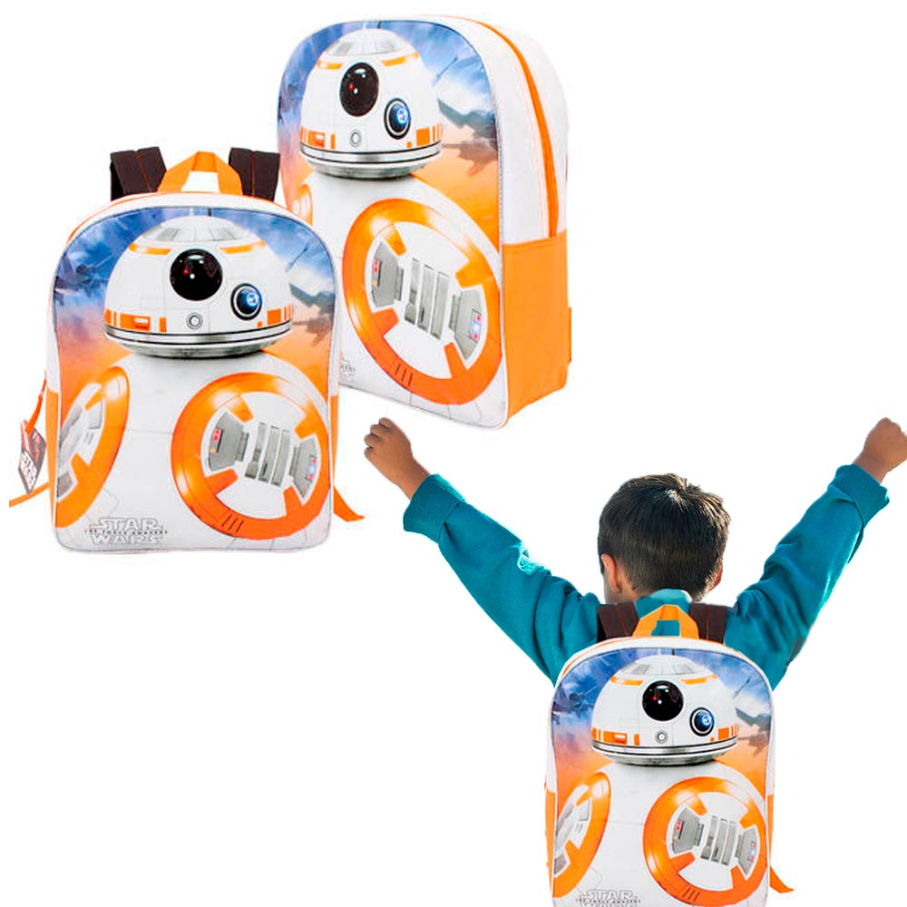 "New Star Wars VII 7 The Force Awakens Large 16"" BB-8 Childrens Backpack Book Bag"