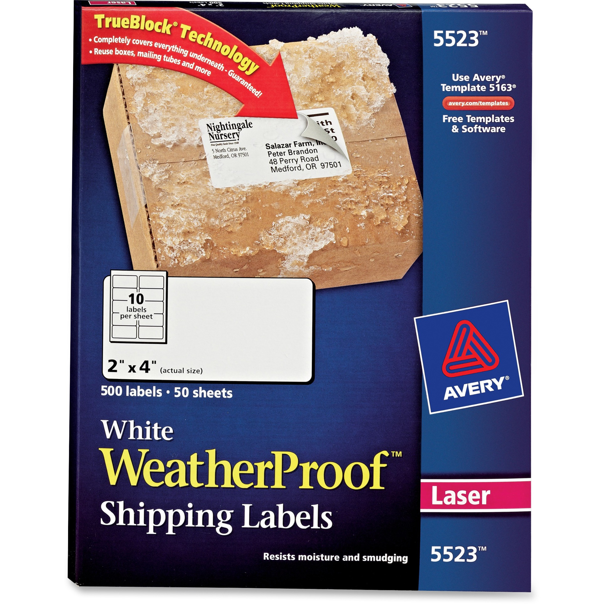 "Avery(R) WeatherProof(TM) Mailing Labels with TrueBlock(R) Technology for Laser Printers 5523, 2"" x 4"", Box of 500"