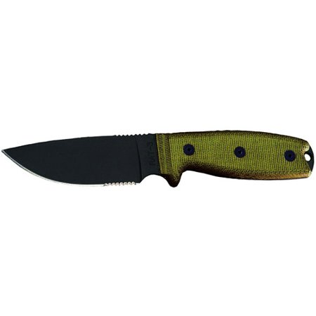 Ontario Rat 5 Sheath: Ontario Knife Company RAT-3 1095 Serrated Knife With Green