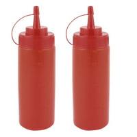 2Pcs 360ml Kitchen Plastic Squeeze Bottles Condiment Ketchup Mustard Oil Salt