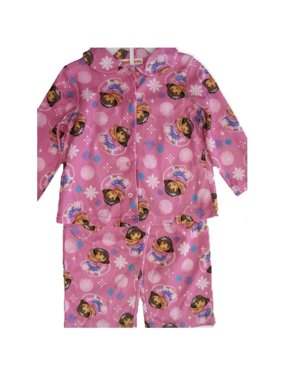 Little Girls Pink Dora The Explorer Bubble Print 2 Pc Pajama Set 2T-4T