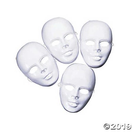 12-pack Plastic Halloween White Drama Party Kids Face Masks - Halloween Kid Party Food Ideas