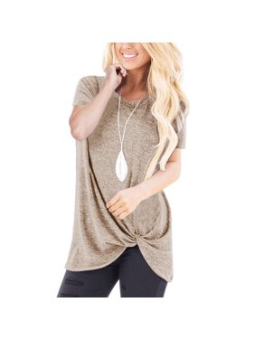 02576d6b9 Product Image Womens Casual Short Sleeve T-shirt Round Neck Knot Casual  Blouse Solid Color Tunic Tops