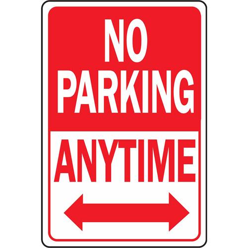 "Hy-ko HW-1 12"" x 18"" Aluminum No Parking Anytime Sign"