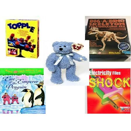 - Children's Gift Bundle [5 Piece] -  Topple  by Pressman  - T-Rex Dinosaur Excavation Kit  - Ty Attic Treasures Bluebeary The Bear 8