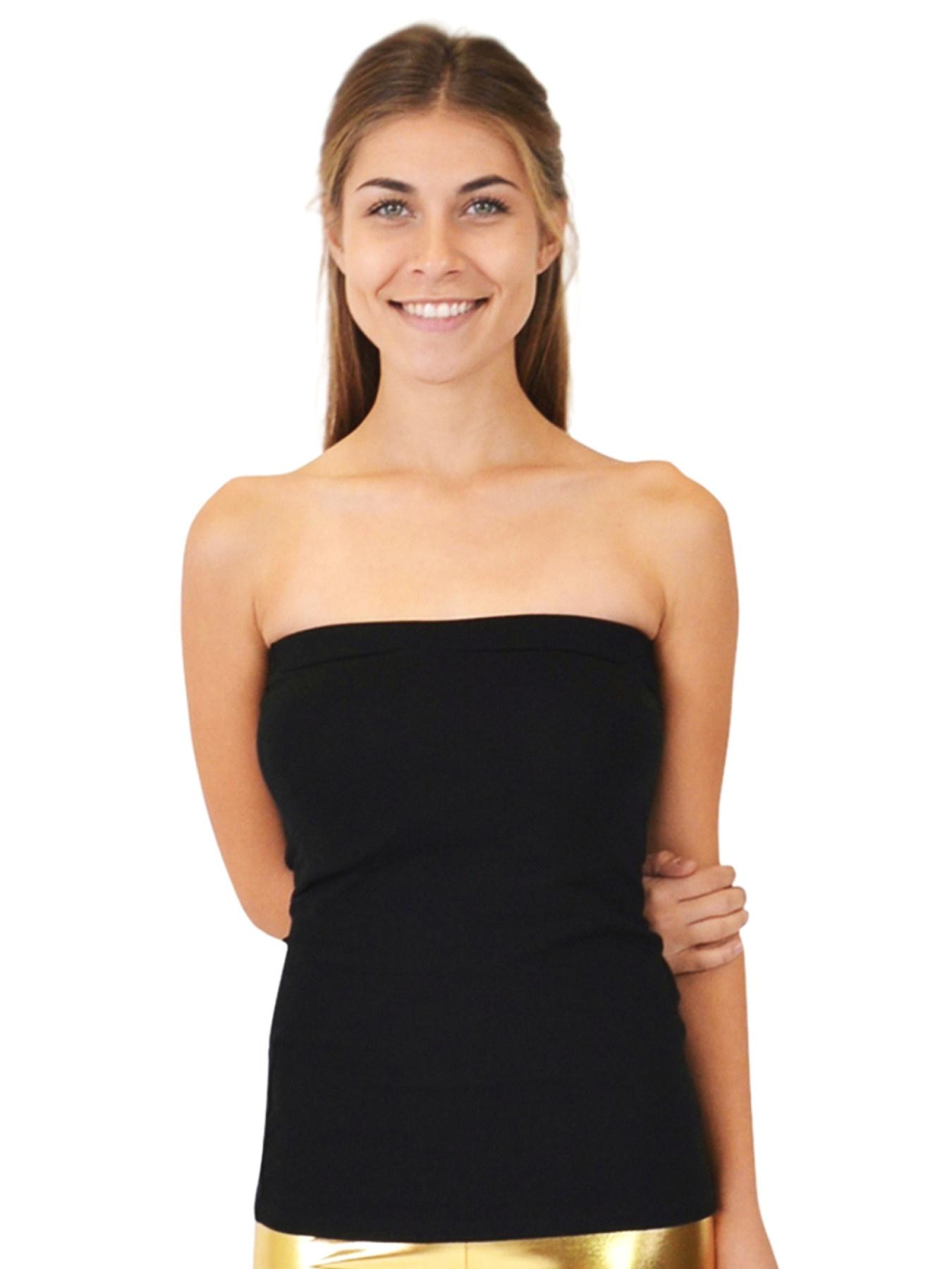 Teamwear Cotton Strapless Tube Top - Small Adult (0-2) / Black