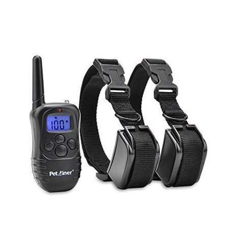 Petrainer PET998DR2 Rechargeable Rainproof Electric Shock E-Collar LCD 100LV Shock Remote Training Collar for 2 - Dog Correction Collar