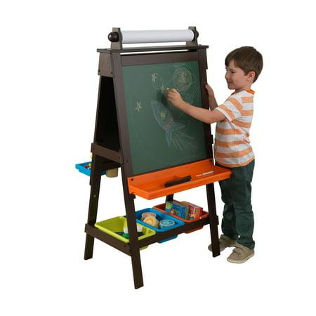 KidKraft Wooden Storage Easel with Dry Erase and Chalkboard Surfaces, Children's Art Furniture - Espresso (Childrens Easel)