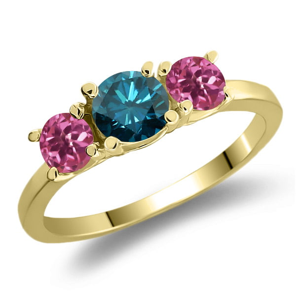 1.03 Ct Round Blue Diamond Pink Tourmaline 14K Yellow Gold 3-Stone Ring by