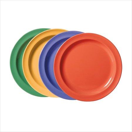 Creative Table 10 inch Round Plate Mix Pack of 4 Mardi Gras Colors Melamine/Case of 24 (First Rounds Mix)