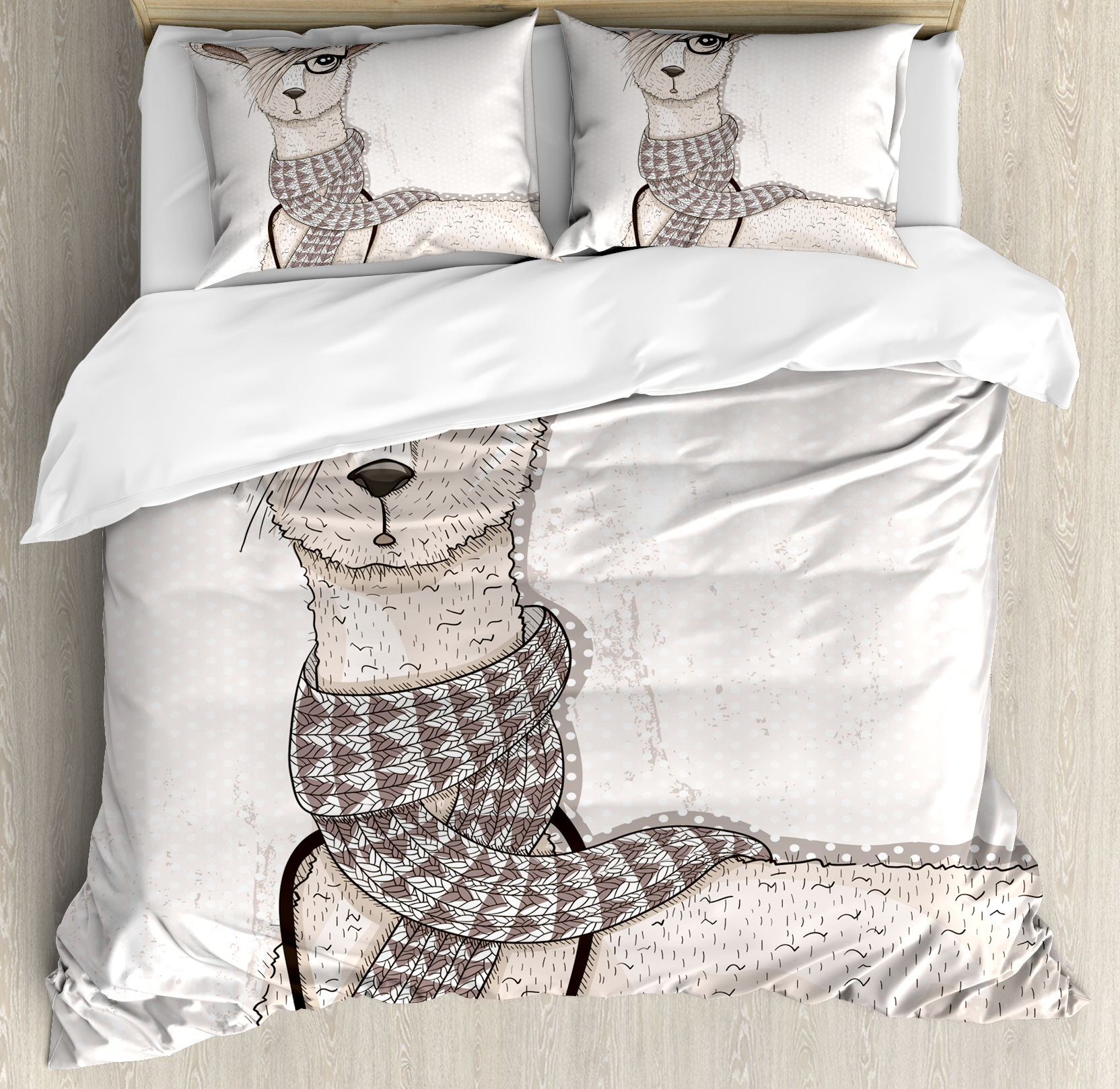 Teen Room Duvet Cover Set, Hipster Lama Figure with Hair Style and Camera Artist Animal Humorous Graphic, Decorative Bedding Set with Pillow Shams, Beige Tan, by Ambesonne