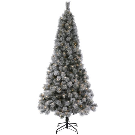 7.5' Pre-Lit Frosted Brewer Slim Pine Decorative Artificial Christmas Tree  - Clear Lights - 7.5' Pre-Lit Frosted Brewer Slim Pine Decorative Artificial