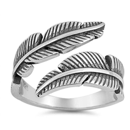 Oxidized Dragon Ring - Oxidize Plain Feather .925 Sterling Silver Ring Sizes 5-10