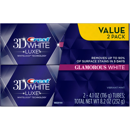 Crest 3D White Luxe Glamorous White Vibrant Mint Flavor Whitening Toothpaste, 4.1 oz, 2 count