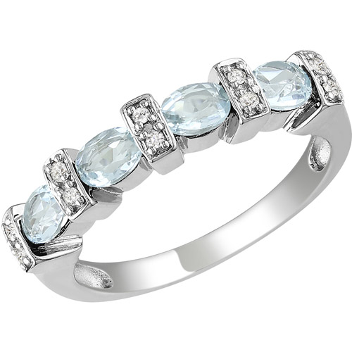 1 Carat T.G.W. Sky Blue Topaz and Diamond-Accent Sterling Silver Fashion Ring