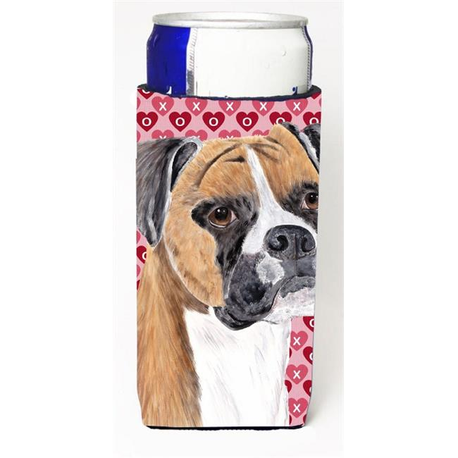 Carolines Treasures SC9249MUK Boxer Hearts Love and Valentines Day Portrait Michelob Ultra bottle sleeve for Slim Can - image 1 of 1