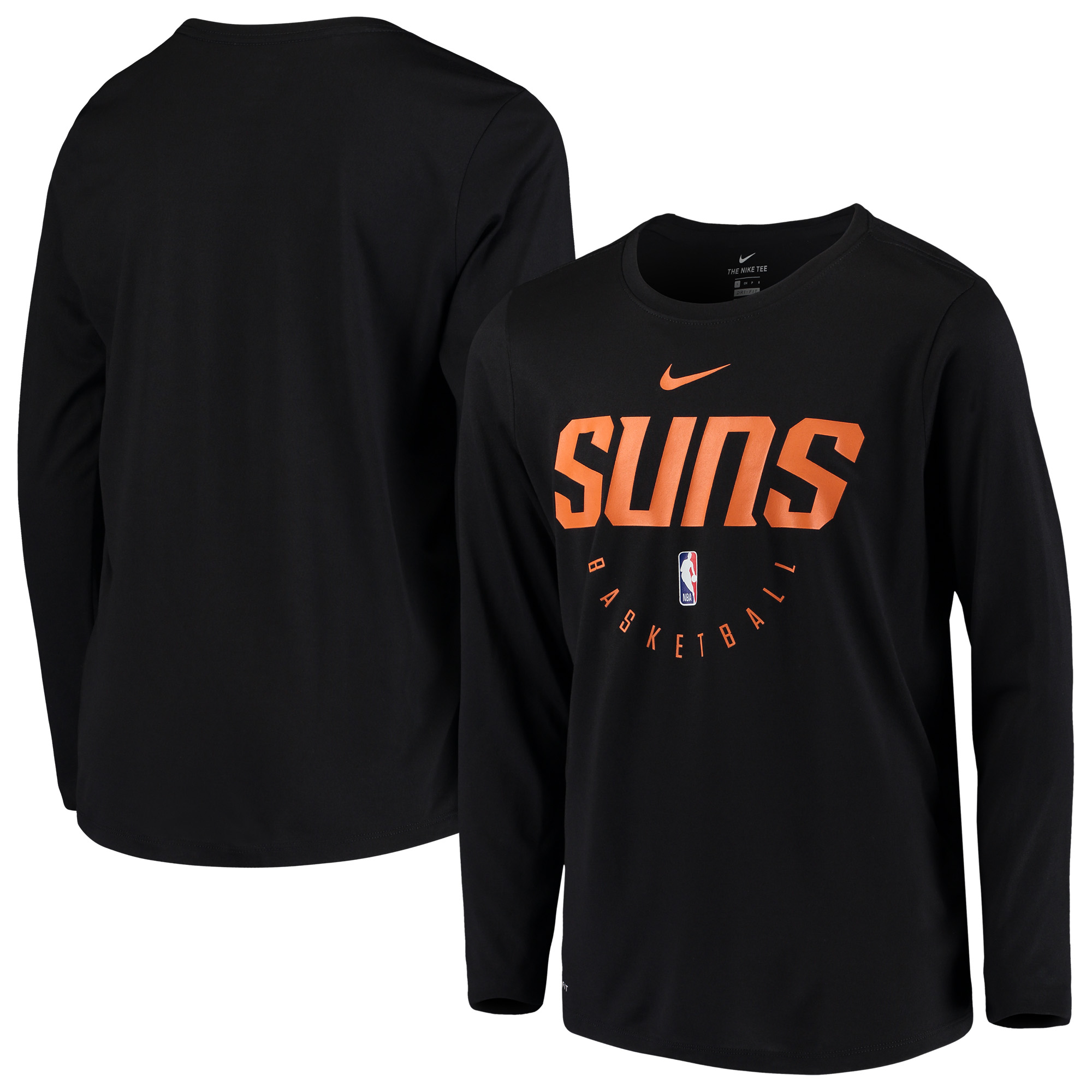 Phoenix Suns Nike Youth Practice Logo Legend Long Sleeve Performance T-Shirt - Black
