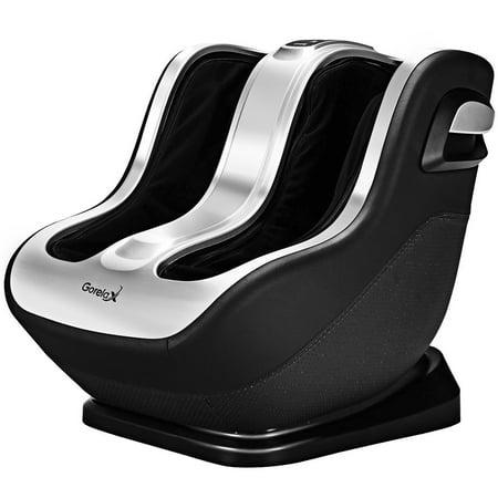 Gymax Leg Massager Foot Shiatsu 10 Airbags Kneading Air Compression Heat (Homedics Deep Compression Foot And Calf Massager)