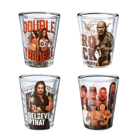 Official WWE Authentic  Superstars Shot Glass 4 Piece Set