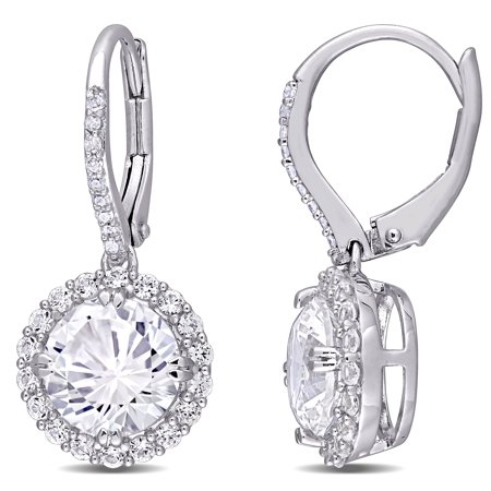 Miabella 5-1/2 Carat T.G.W. Created White Sapphire and Diamond-Accent Sterling Silver Halo Earrings - image 1 of 4