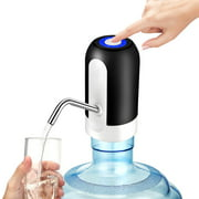 Automatic Electric Water Pump Dispenser Portable Drinking Water Pump Dispenser Switch with LED Light USB Android Charge Port for Home Kitchen Office (Fits Most 1.18-5 Gallon Water bottle)-Black