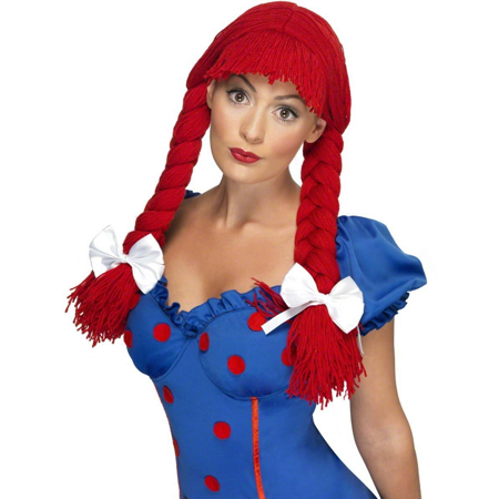 Red Rag Doll Wig Raggedy Ann Pigtails Wendy's Adult Womens Costume