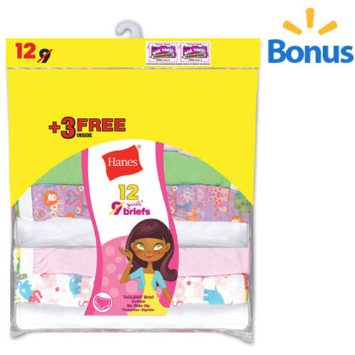 Hanes Girl's Cotton Brief 9 Pack   3 Free