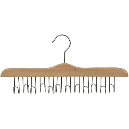 International Hanger Wooden Belt Hanger, Natural  Finish with Chrome Hardware Box of 1