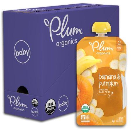 Plum Organics Stage 2, Organic Baby Food, Banana & Pumpkin, 4oz Pouch (Pack of 6) - Baby Pumpkin