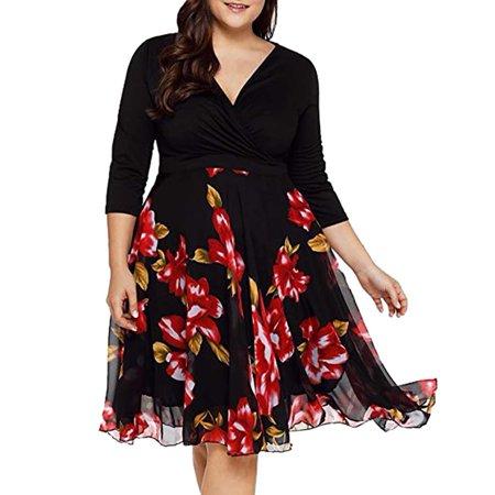 Women Elegant Slim Top Big Swing Print Chiffon Skirt Maxi Dresses Plus Size