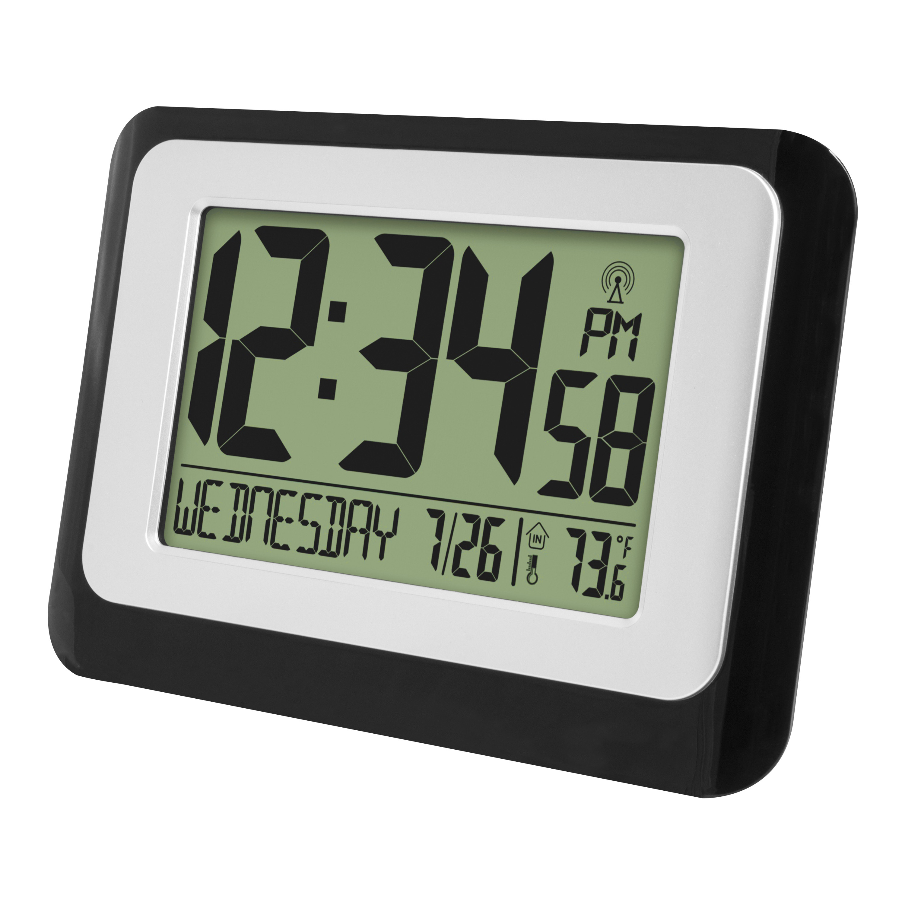 Battery Operated Radio Controlled Desk Large Wall Clock w// Auto Time Set