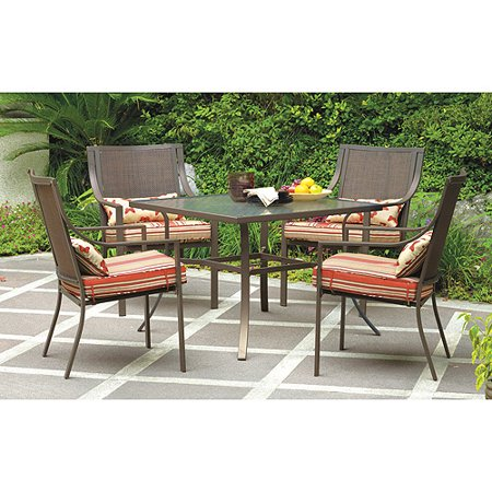 Mainstays Alexandra Square 5-Piece Outdoor Patio Dining Set, Red Stripe with Butterflies, Seats 4 ()