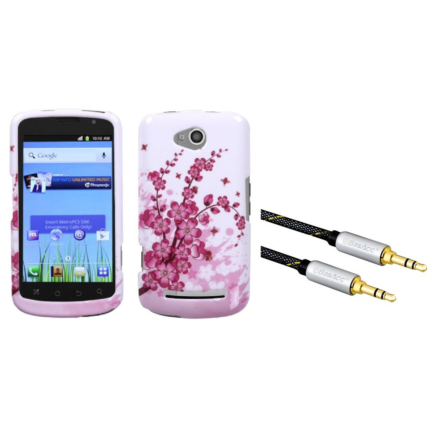 INSTEN Spring Flowers Phone Case for COOLPAD: 5860E (Quattro 4G) (+ Bundle with3.5mm Aux Auxiliary Audio Stereo Extension M/M Cable)