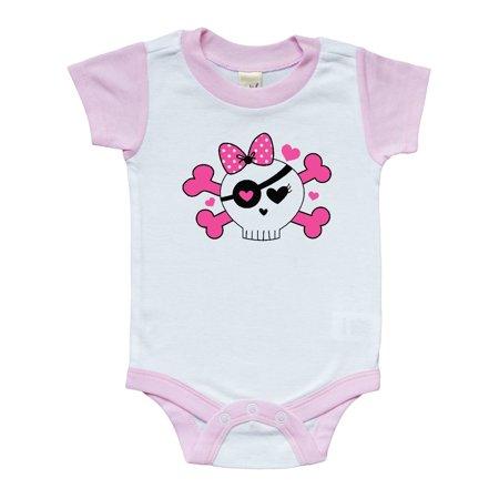 Girl Pirate Skull Valentine Infant Creeper