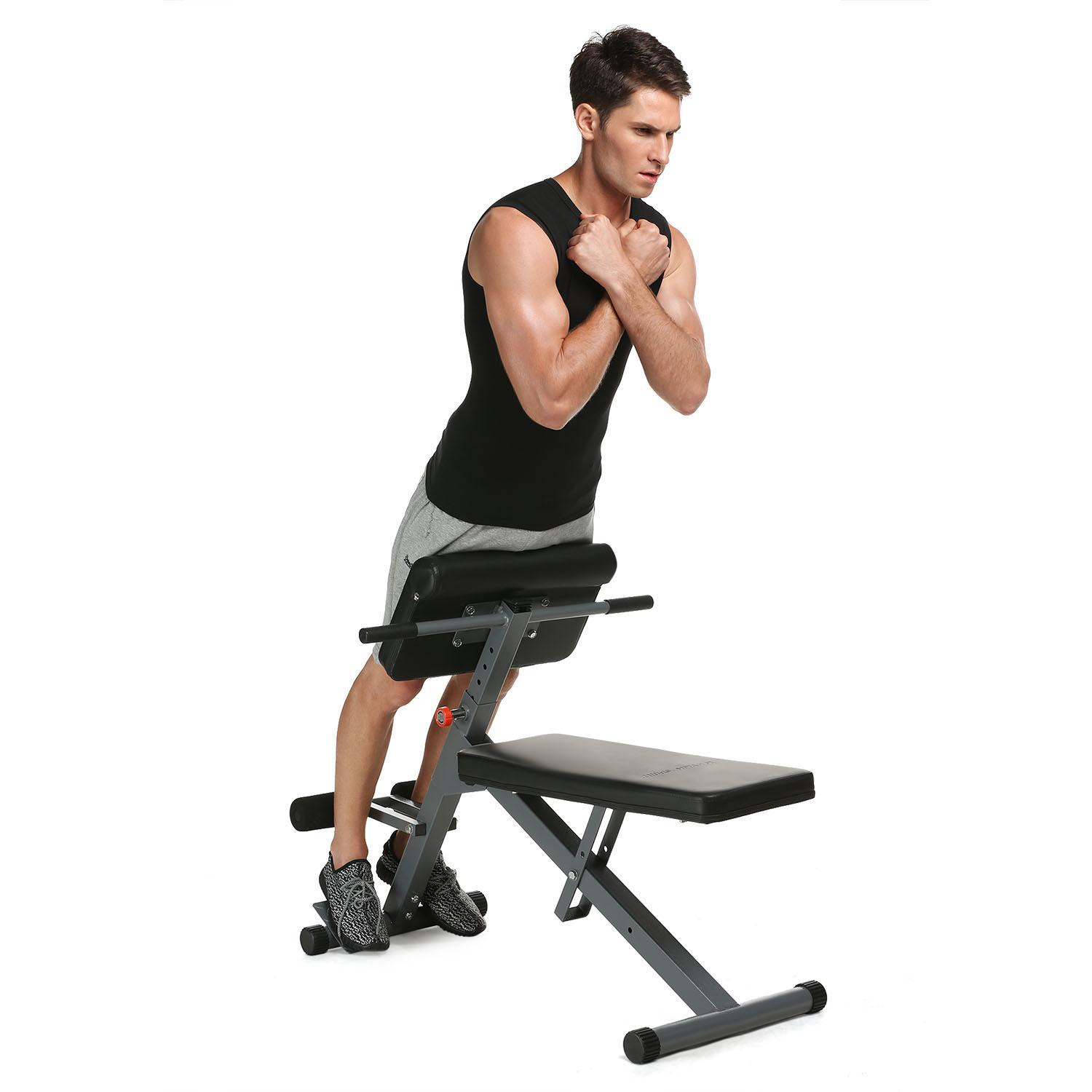 Hyperextension Fitness Back Exercise Bench Folding Roman Chair Home Gym Training