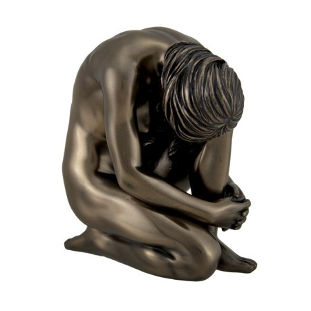 3.5 Inch Pewter Statue - Bronze Finish  Kneeling Female Statue 4 1/4 Inches Tall